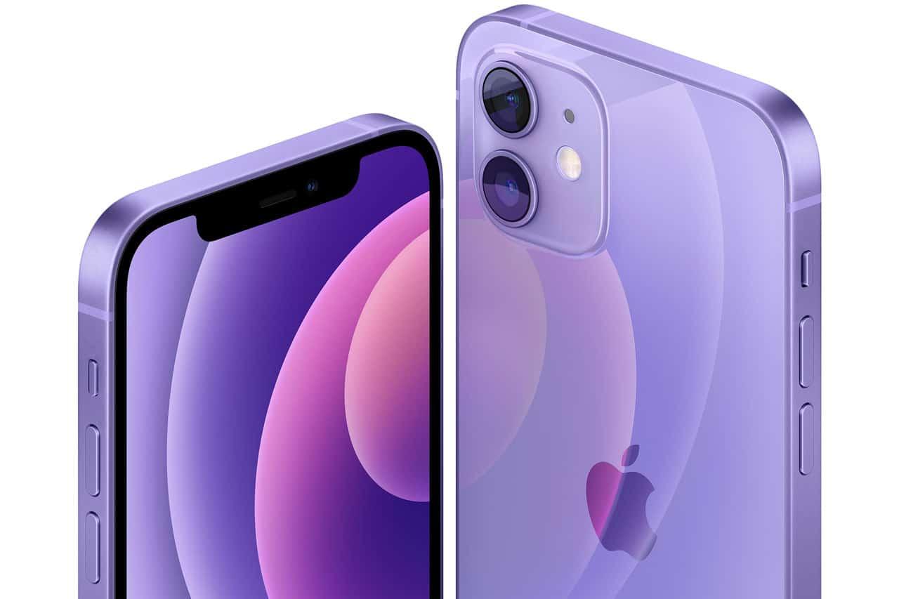 Paarse iPhone 12 en iPhone 12 mini Purple