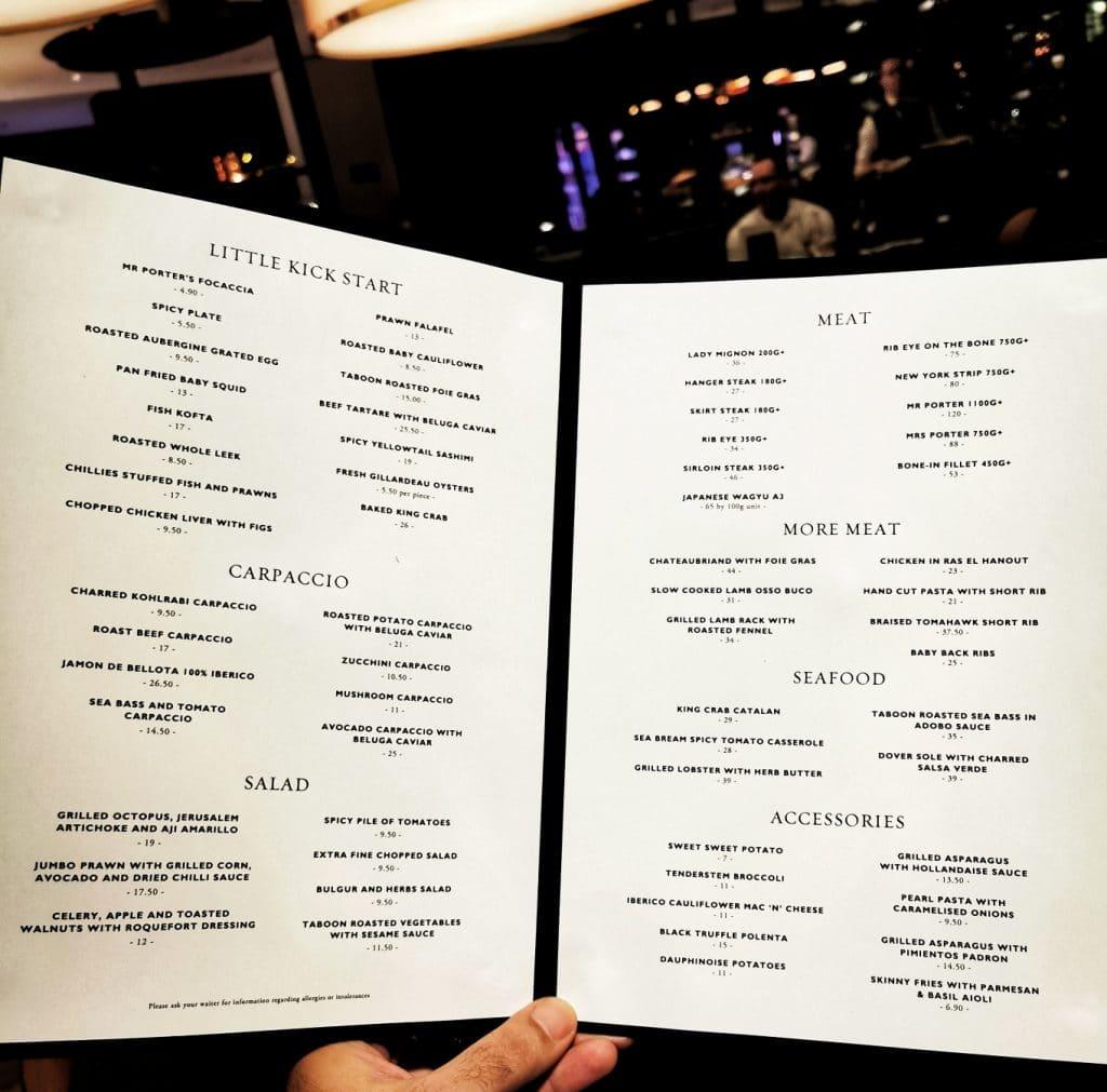 MR PORTER Barcelona review menukaart menu card