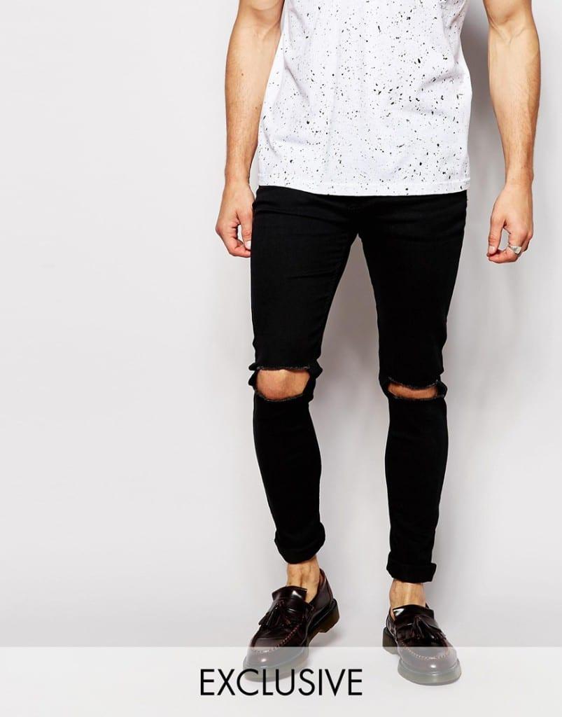 Mannenstyle-online-bestellen-herenkleding-fashion Reclaimed Vintage Super Skinny Jeans met gaten 1