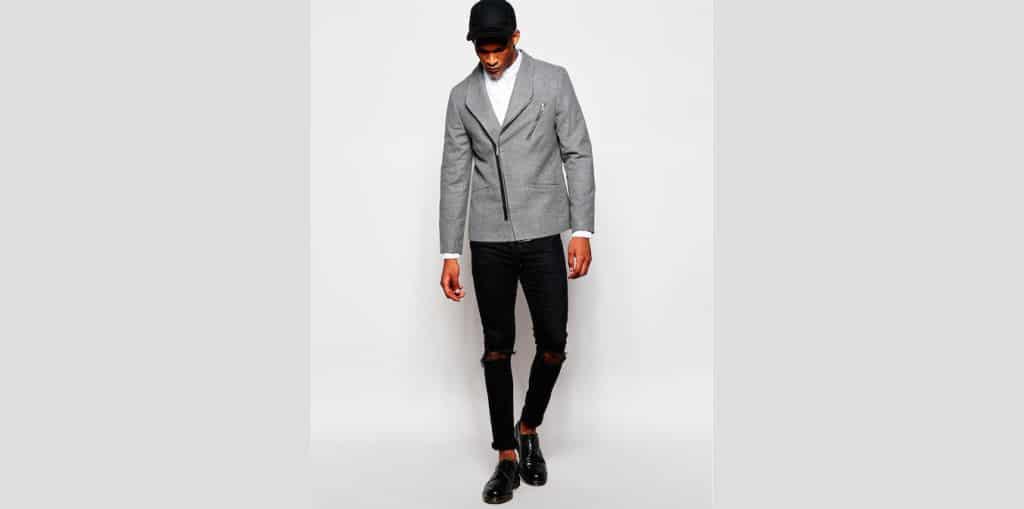 Mannenstyle-online-bestellen-herenkleding-fashion Slim Blazer met Biker Styling