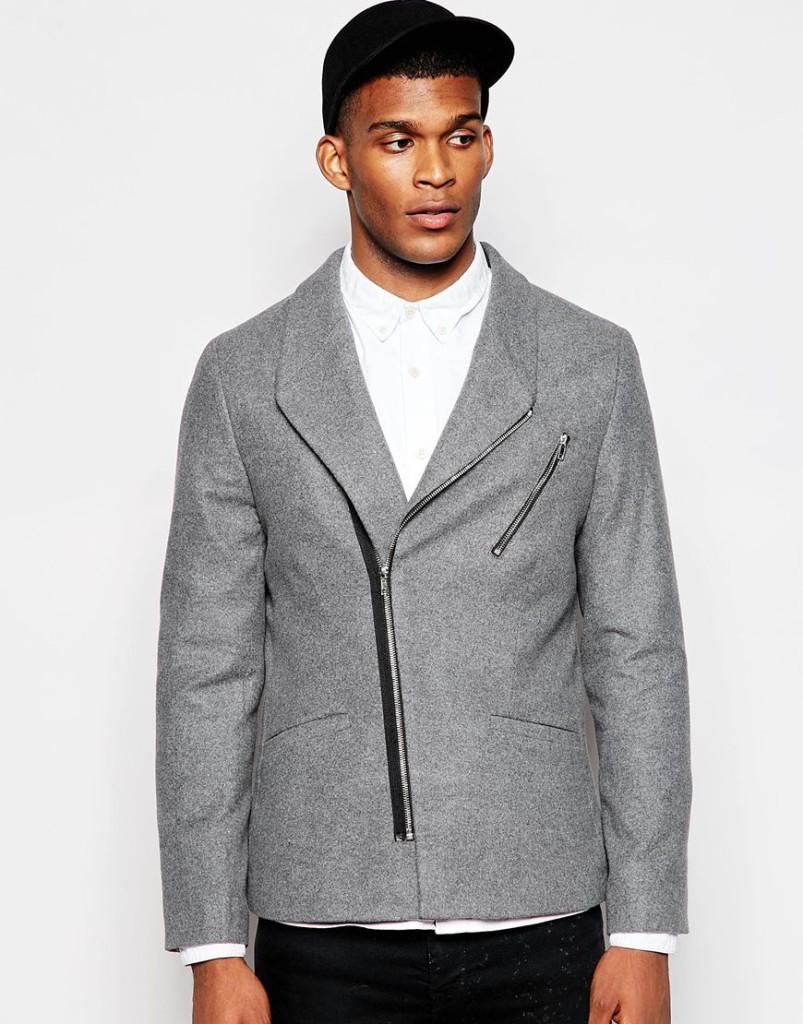 Mannenstyle-online-bestellen-herenkleding-fashion Slim Blazer met Biker Styling 1