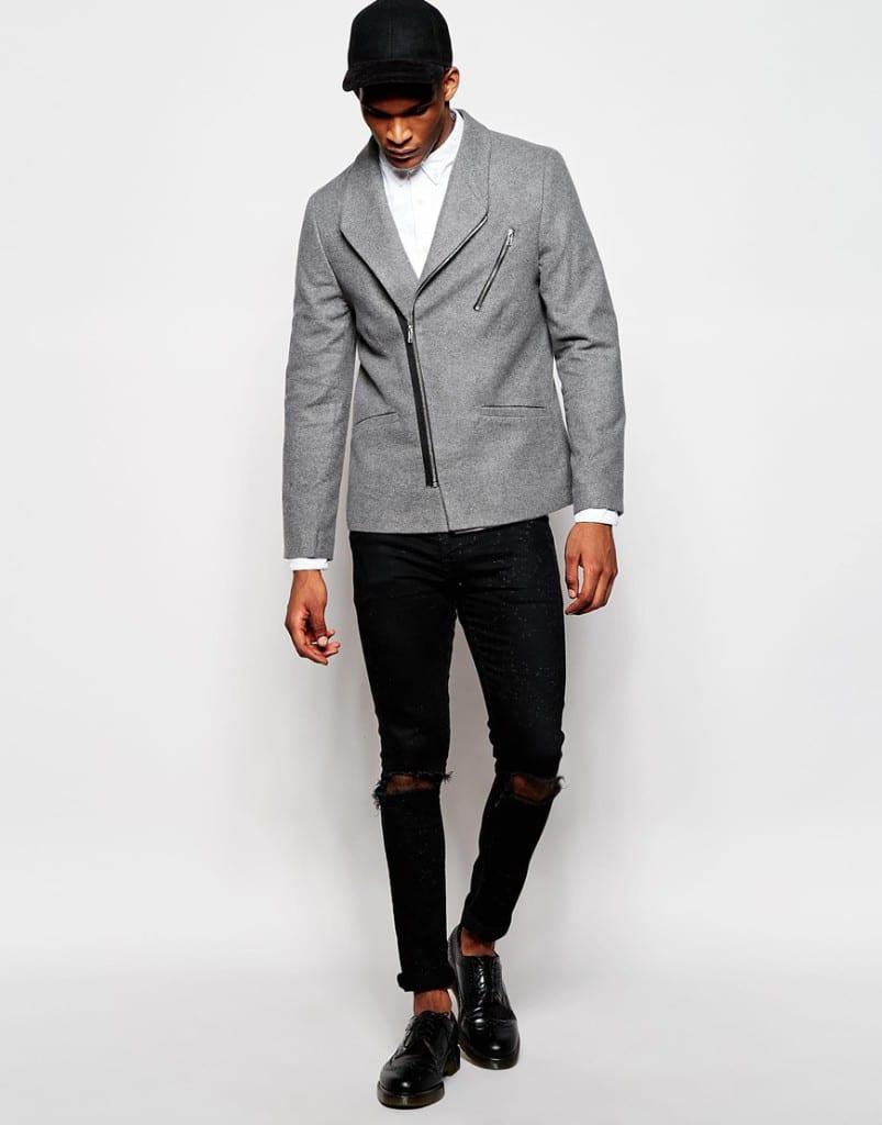 Mannenstyle-online-bestellen-herenkleding-fashion Slim Blazer met Biker Styling 4