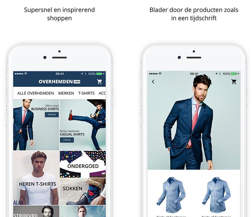 Overhemden.com app online herenshirts bestellen
