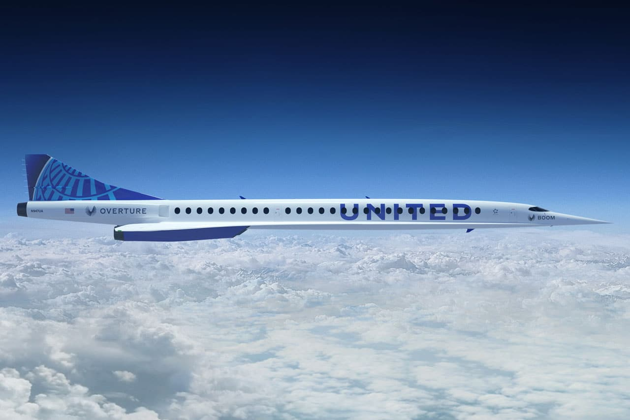 Boom Supersonic jet United Airlines Van Londen naar Newark vliegen in 3,5 uur