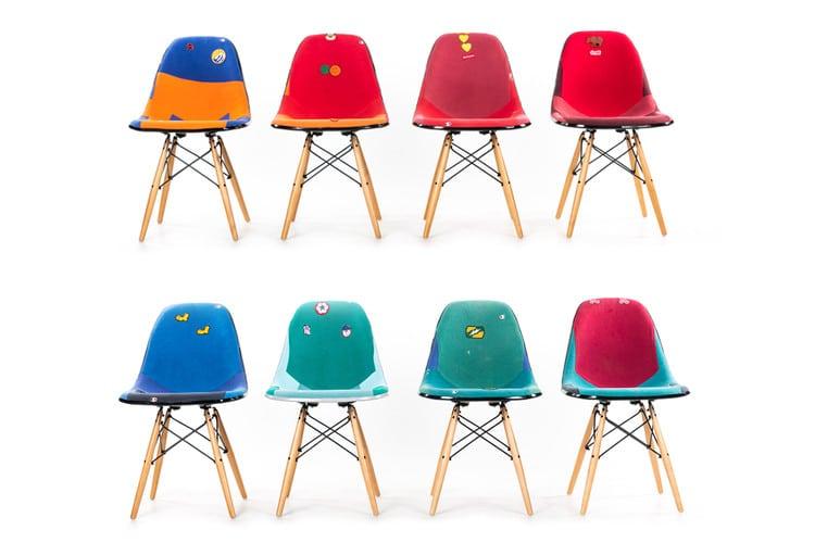 Dr. Romanelli & Modernica: stoelen van Vintage Champion-sweatshirts