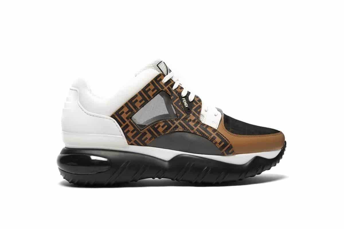 Fendi FF Low-Top Leather & Mesh Trainers