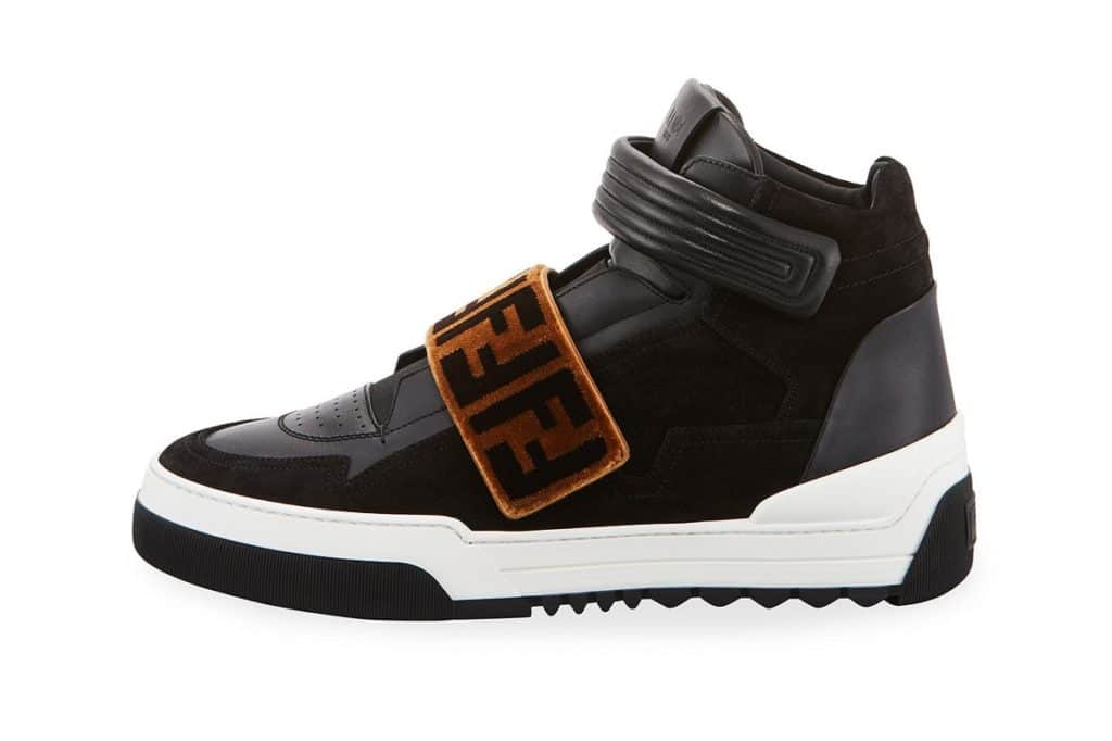 Fendi Zucca Grip-Strap High-Top Sneaker