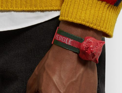 Gucci Tiger's Head Resin and Grosgrain Watch