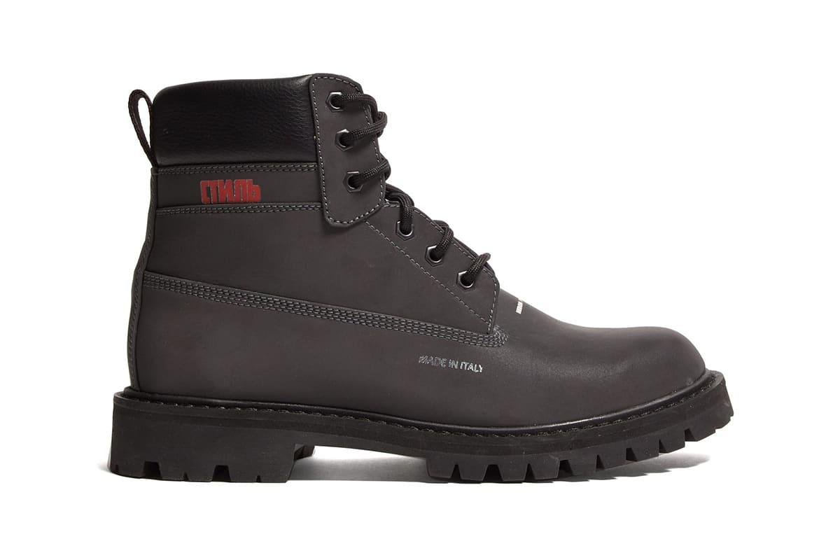 Heron Preston Worker Logo-Print Grained-Leather Boots