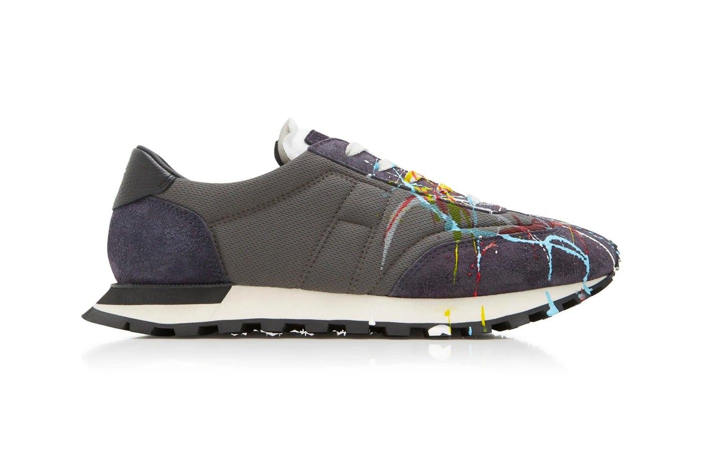 Maison Margiela Paint-Splattered Suede & Mesh Sneakers