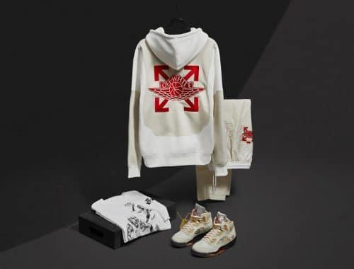Off-White x Air Jordan 5 Sail en kleding officieel aangekondigd
