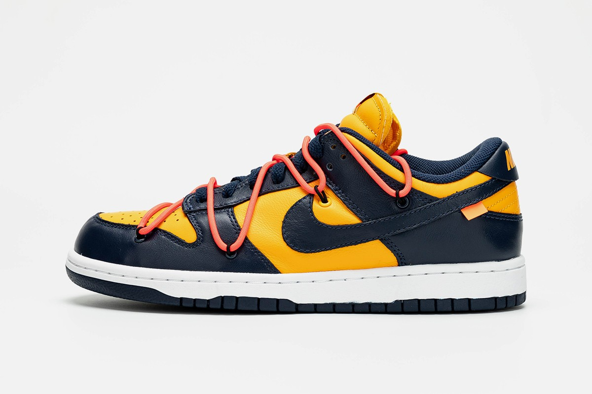 """Off-White x Nike Dunk Low """"Gold/Navy"""""""