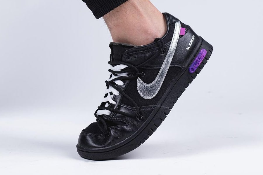 """Off-White x Nike Dunk Low """"The 50"""" Black/Silver"""