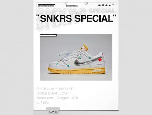 """Off-White x Nike Dunk Low """"The 50"""" release datum info"""