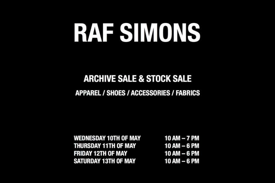 Raf Simons sample sale Antwerpen 2017