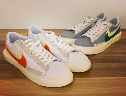 """sacai x Nike Blazer Low """"Medium Grey/Classic Green/White"""" en """"White/Magma Orange/White"""""""