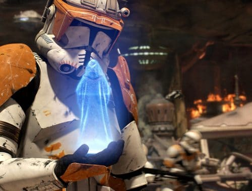 Samsung smartphone met hologram Star Wars