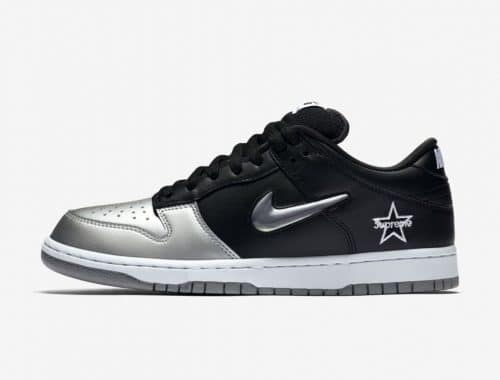 "Supreme x Nike SB Dunk Low ""Black/Metallic Silver"""